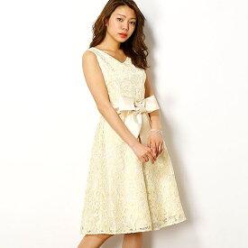 花柄刺繍レースフィット&フレアーワンピースドレス/ドリードール(Dorry Doll)
