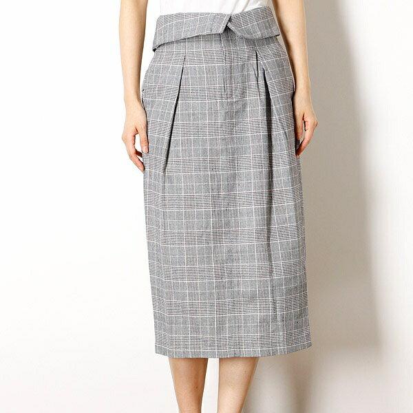 レディススカート(グレンチェックハイウェスト折り返しスカート)/イーブスサプライ(レディース)(YEVS supply)