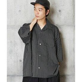 開衿ストライプシャツ ベーシックオープンカラーストライプシャツ/アンリラクシング(unrelaxing)
