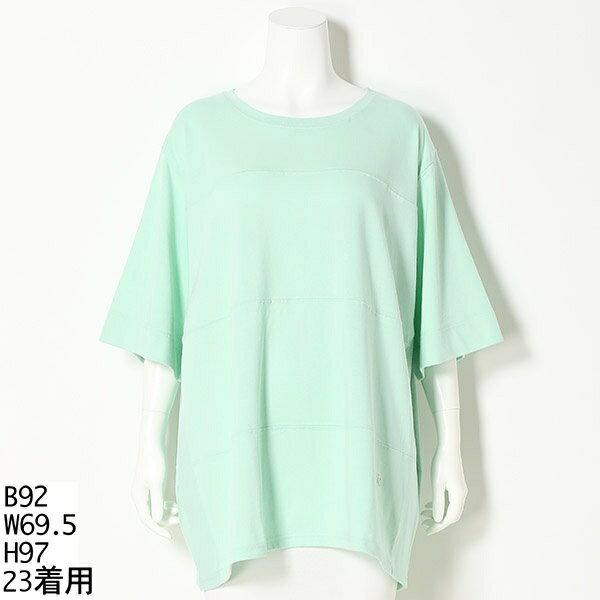 【SLサイズ】【大きいサイズ】【21・23号】アメリカンコットン切替Tシャツ/グリーンノート(21号〜)(gree*n[nout])