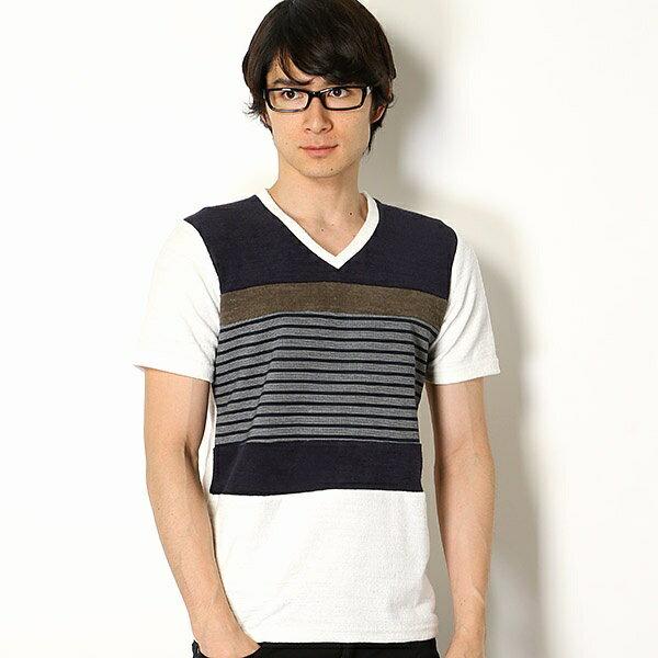 パイルブロッキングTシャツ/メンズメルローズ(MEN'S MELROSE)