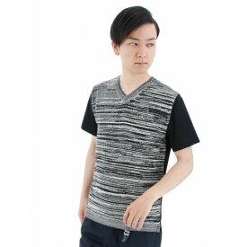 【残りわずか】前身メランジバイアス編みVネックTシャツ/タカキュー(TAKA-Q)