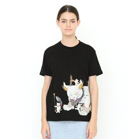 【ユニセックス】コラボレーションTシャツ/鬼子母猫百号 (石黒亜矢子)/グラニフ(graniph)