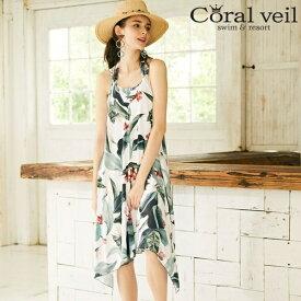 08a7aeb9499c8d 【2018新作】【Coral veil】Big Leaf タンキニドレスワンピ 3点セット