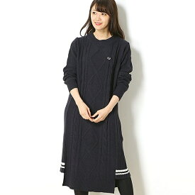 【18AW】CABLE KNITTED DRESS/フレッドペリー(レディス)(FRED PERRY)