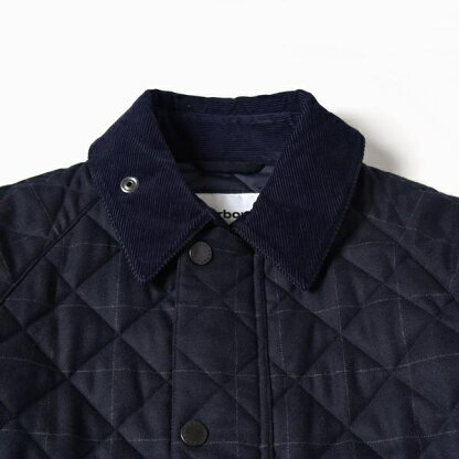 Quilted Check Wool Bedale SL 114-15-0324: Navy