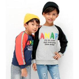 レインボーラインロゴトレーナー/アナップキッズ&ガール(ANAP KIDS&GIRL)