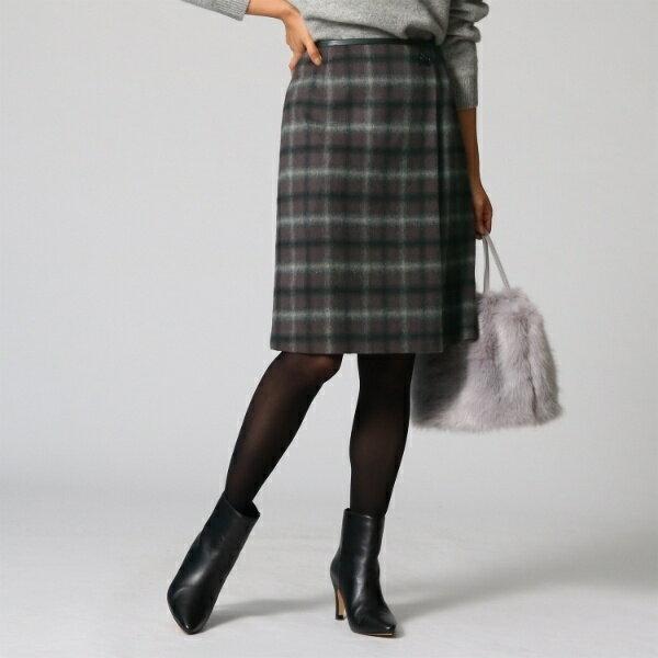 Lスカート([L]シャギーチェック柄ラップ風スカート)/アンタイトル(UNTITLED)