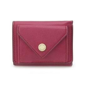 ロゴ刻印カシメメール型三つ折り財布/ピンクアドベ(pink adobe)