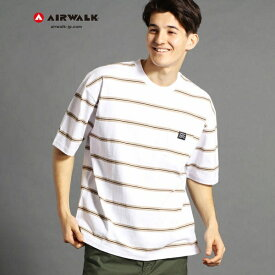 【WEB別注】AIRWALKコラボボーダー柄Tシャツ/ヴィタル ムッシュニコル(VITAL MONSIEUR NICOLE)
