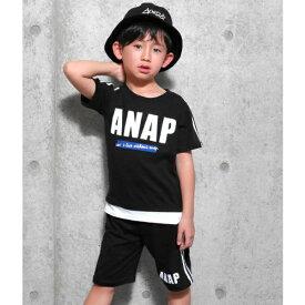 切り替え風ラインTシャツ+ラインハーフパンツSET/アナップキッズ&ガール(ANAP KIDS&GIRL)