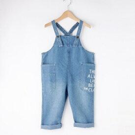 【90-120cm】ポケットロゴ デニムサロペット/シューラルー(キッズ)(SHOOLARUE Kids)