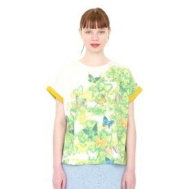 【レディース】バックボタンラウンドネックTシャツ/バタフライインザグリーン/グラニフ(graniph)