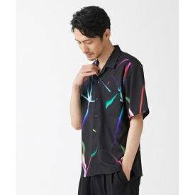 デジタルLEUR-DE-LIS オープンカラーシャツ/モルガンオム(MORGAN HOMME)