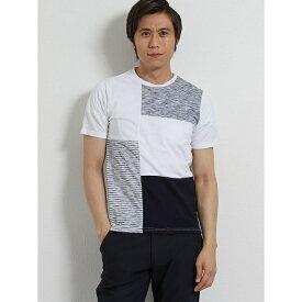 接触冷感 クレイジー異素材切替クルーネック半袖Tシャツ/タカキュー(TAKA-Q)