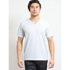 吸汗速乾ブライト市松ジャガード ダブルVネック半袖Tシャツ/タカキュー(TAKA-Q)