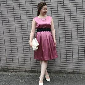 Mint Souffle ウエストタックギャザー入りシャイニーフレアーワンピースドレス/ドリードール(Dorry Doll)