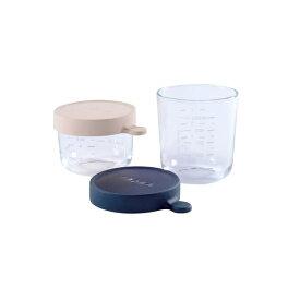 【ベアバ】ガラス保存容器/2個セット/150&250ml/ピンク&ネイビー/ダッドウェイ(DADWAY )