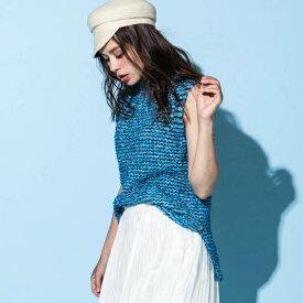 【WEB別注】【手洗い可】ミックス編みプルオーバー/ビアッジョブルー(Viaggio blu)
