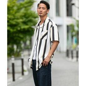 ストレッチストライプ/ オープンカラー オーバーサイズ プリントシャツ(開襟衿) /A・S・M(A.S.M)