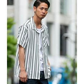 ストレッチストライプ / オープンカラー プリントシャツ(開襟衿)/A・S・M(A.S.M)