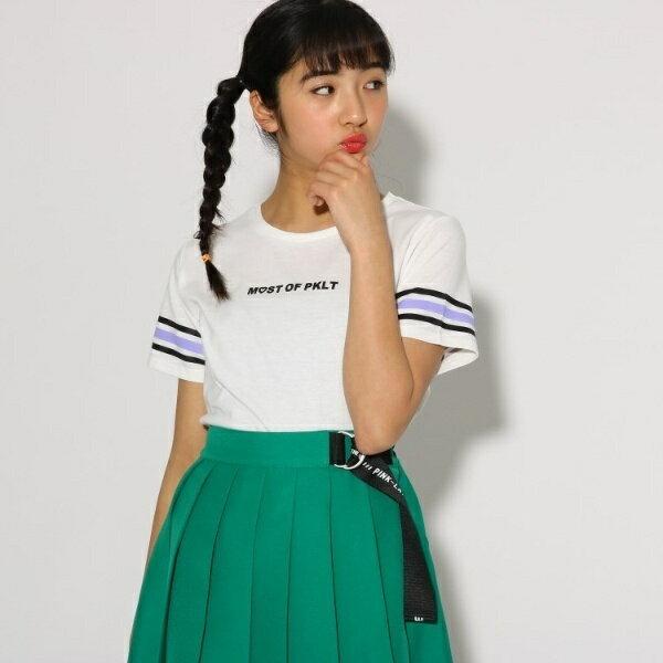 レインボー袖 Tシャツ/ピンク ラテ(PINK latte)