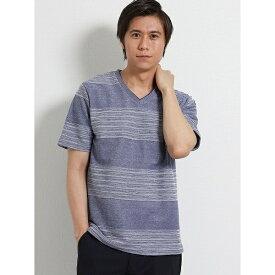 DRY ランダムタックボーダーVネック半袖Tシャツ/タカキュー(TAKA-Q)