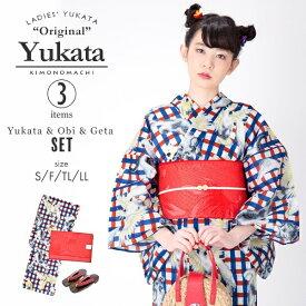 浴衣3点セット「赤×青チェック猫とオウム」(浴衣+帯+下駄)/キモノマチ(KIMONOMACHI)