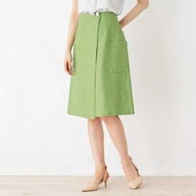 ◆【洗える】リネン混ポケットラップスカート/インデックス(index)