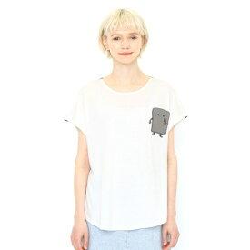 【レディース】コラボレーションTシャツ/ぬりかべポケット(ゲゲゲの鬼太郎)/グラニフ(graniph)