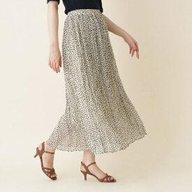 【WEB限定販売手洗い可】INNOWAVE(イノウェーブ)変形ドットシフォンプリーツロングスカート/クチュールブローチ(Couture Brooch)