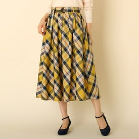 【WEB限定サイズ(S・LL)あり手洗い可】先染チェックフレアスカート/クチュールブローチ(Couture Brooch)