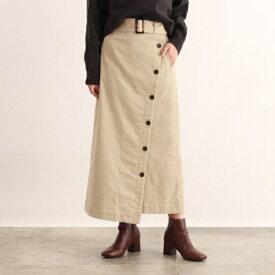 [洗える]ベルト付きコーデュロイラップ風スカート/オゾック(OZOC)