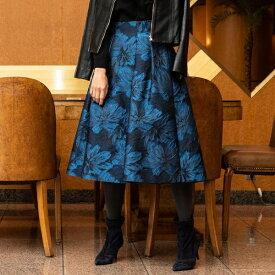 【大きいサイズ】フラワージャガードスカート/ビアッジョブルー(大きいサイズ)(Viaggio blu)