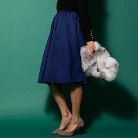 【大きいサイズ】グログランフレアスカート/ビアッジョブルー(大きいサイズ)(Viaggio blu)