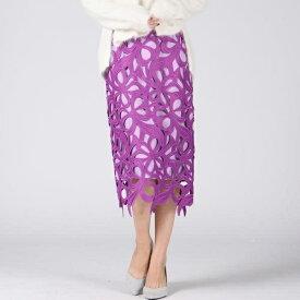 【大きいサイズ】大柄フラワーレースタイトスカート/クイーンズコート(大きいサイズ)(QUEENS COURT)