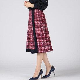 【大きいサイズ】チェックツイードプリント切り替えスカート/クイーンズコート(大きいサイズ)(QUEENS COURT)