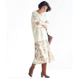 【マガジン掲載】サテンフラワープリントスカート(検索番号R43)/自由区(JIYUKU)