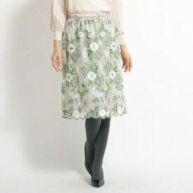 【洗える】花柄刺繍チュールスカート/スーナウーナ(SunaUna)