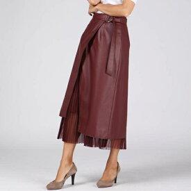 【大きいサイズ】パンチングレザーラップスカート/ビアッジョブルー(大きいサイズ)(Viaggio blu)