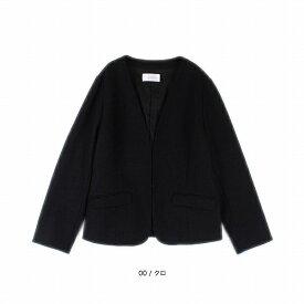 【大きいサイズ】【L〜5L】T/Wポンチノーカラージャケット/フルールbyミントブリーズ(Fleur)