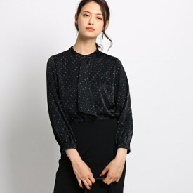 [L]【マシンウォッシュ】キカドットプリントシャツ/インディヴィ(INDIVI)