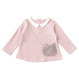 裏起毛 衿つきネコポシェットTシャツ/プティマイン(petit main)