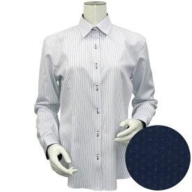 形態安定 ノーアイロン 長袖ワイシャツ HOT-2 レギュラー衿 白×紺ストライプ/ブリックハウス(BRICKHOUSE)