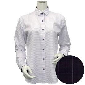 形態安定 ノーアイロン 長袖ワイシャツ HOT-2 ワイド衿 白×パープル刺子風柄/ブリックハウス(BRICKHOUSE)