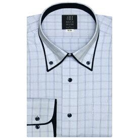 形態安定 ノーアイロン 長袖ワイシャツ パイピング風ボタンダウン ブルーチェック 標準体/ブリックハウス(BRICKHOUSE)