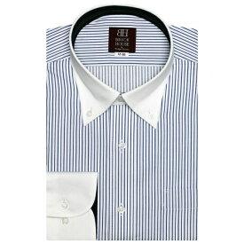形態安定 ノーアイロン 長袖ワイシャツ クレリック ボタンダウン サックスストライプ/ブリックハウス(BRICKHOUSE)