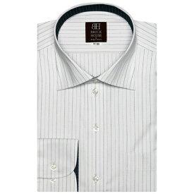 形態安定 ノーアイロン 長袖ワイシャツ ワイド 白×黒、グレーストライプ/ブリックハウス(BRICKHOUSE)