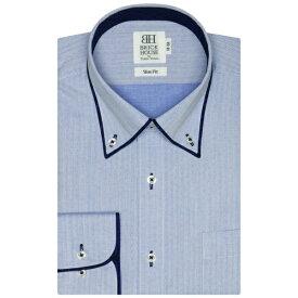 形態安定 ノーアイロン 長袖ワイシャツ パイピング風ボタンダウン ブルー×ドット織柄 スリム/ブリックハウス(BRICKHOUSE)