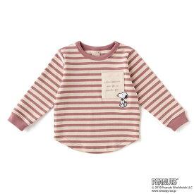 【PEANUTSコラボ】ボーダーポケットロゴTシャツ/プティマイン(petit main)